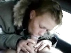 Cocksucker in the car and the woods