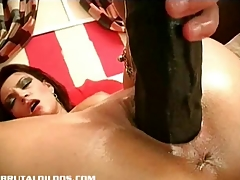 Ella fucking her pussy with brutal dong