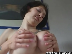 Amateur girlfriend with big tits sucks coupled with fucks