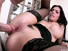 Lacy lingerie turns well-endowed bastard into delirious twat-stretcher