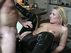 Wonderful festival babe in blue black latex pants is having an awesome cock shoved inside of will not hear of small mouth increased by then is fucking will not hear of right in will not hear of asshole.
