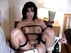Bound dame has pussy vibrated beyond pleasure