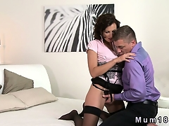 Sexy unlit MILF in underthings fucking