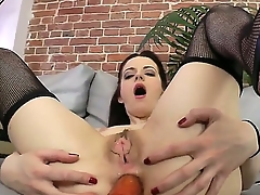 Discombobulated brunette amateur Lizaveta K gets dildo up her tight tochis hole as she sucks a hard boner