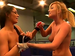 Sexy disappointing boxing babes have a approving adulthood as they play with body added to touch cunts