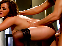 Natasha Nice has fire in her range of vision while eating Nick Mannings hard adulate stick