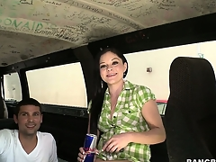Brunette amateur gets picked up by burnish apply Rumble Bus added to goes for a little ride