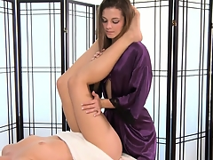 The sexy slender blonde is in be proper of a great massage with the hot brunette