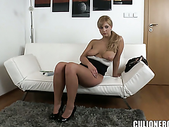 Breathtakingly beautiful honey with big ass is happy with man cream on her eager face