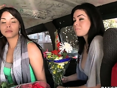 Sexy Latina babes forwarding flowers back a ride on be passed on Bang School