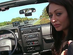 Young cute brunette hooker Natalia Moore with natural boobs with an increment of tight firm on touching bums in white pantalettes gets picked up by client with an increment of sucks his huge stiff pecker by the road.