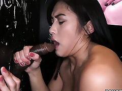 Mia Li sucks the sperm out of pole