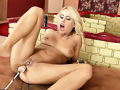 Blonde Nikky Thorne gives a closeup view of her love box as she masturbates with dildo