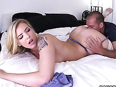 Lexi Davis gives tall oral delight to hot guy