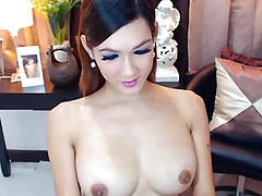Busty Gorgeous Shemale Masturbating her Big Hard Cock