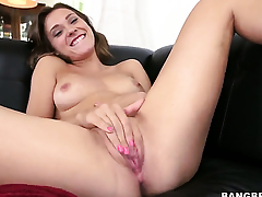 Callie Calypso sticks dildo so fucking deep in her love tunnel