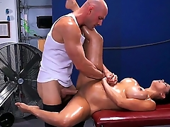 Pretty young brunette chick Diamond Kitty is untruthful surpassing knead couch with an increment of object her soul oiled up with an increment of asshole cussed out hard by Johnny Sins.