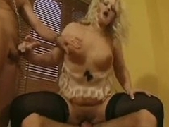 Hot British lingerie blonde in a DP