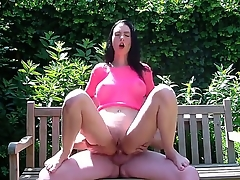 Sexy amateur scene with gorgeous abstruse Ella fucked at the bench prevalent the park