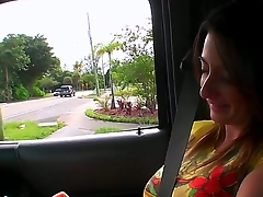 Sexy girlfriend with dear big melons was met by me on the street and invited for an action