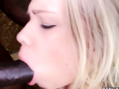 Cute blonde girl loves a brotha with a big black cock to smotha