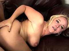 Blonde MILFs big titties bounce as A she rides him like a cowgirl