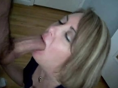 Wife gives blowjob 'til beamy cock cums